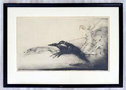 Antique Art Deco Framed Etching Of A Woman And Greyhounds Signed Louis Icart 1927