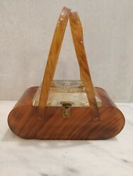 Vintage Nyc Llewellyn Inc Style Rare Butterscoth Amber Slag Lucite Purse Retro