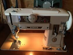 Vintage Singer 401a Zig Zag Slant-o-matic Sewing Machine, Attachments, Cabinet