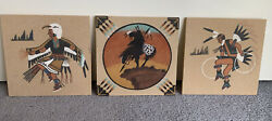 Native America 3x Navajo Sand Paintings 8 Signed