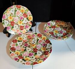 Portmeirion Rose Bouquet 8.5 Salad Plates Set 4 With One Tier 11 Serving Tray