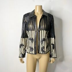 Genuine Leather Women's Size Small Two Toned Mesh Striped Jacket $19.59