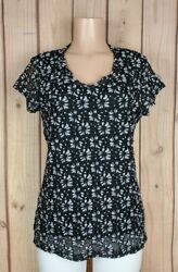FOREVER FASHION Womens Jr Size XL Short Sleeve Shirt Floral Lace Black Top $11.96