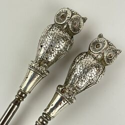 Fine Antique Sterling Silver Mounted Owl Form Shoe Horn And Button Hook Set 21cm