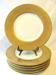 Hutschenreuther Lhs Hut 291 Selb Bavaria 6 Gold Encrusted Dinner Cabinet Plates