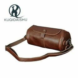 Round Barrel Bags Messenger Leather Vintage Casual Small Travel C $37.30