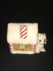 Norcrest Vintage Christmas Candy Cane Toodles Dog Puppy Bank Gingerbread House