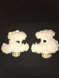 Vintage Paris Boy Girl Poodle Dogs Chalkware Wall Plaques Pocket Shabby Chic Set