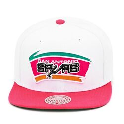 Mitchell And Ness San Antonio Spurs Snapback Hat Cap White/pink/throwback