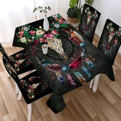 Skull Floral Deer Head Gothic Rectangle Tablecloth Chair Covers Dining Table Set