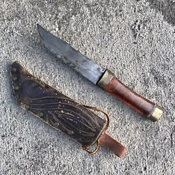 Wwii Korean Vietnam War Theater Made Fixed Blade Trench Art Knife And Sheath