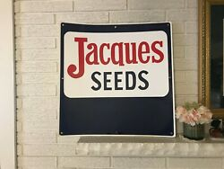 Rare Vintage Large Jacques Seeds Corn Advertising Sign C1982 24 X 24 Wisconsin