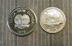Two 1975 Paupa New Guinea Silver Coins K10 And K5