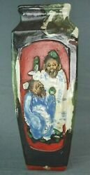 Antique Japanese Sumida Gawa Pottery Vase Wise Sages 12 3/8 Inches In Height