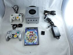 Silver Nintendo Gamecube Console Bundle W/ Mario Party 5 Tested And Working