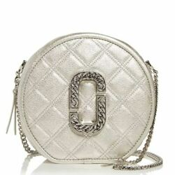 Marc Jacobs The Metallic Status Round Quilted Leather Xbody Platinum Dust Bag