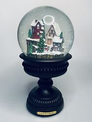 Fao Schwarz Large Decorative Pedestal Snow Globe Continuous Snowfall Led Lights