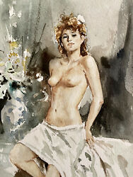 Gordon King Original W/c Of A Nude Delicately Painting A True Master At Work