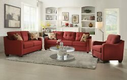 Acme Furniture Cleavon Red Sofa And Loveseat Living Room Set