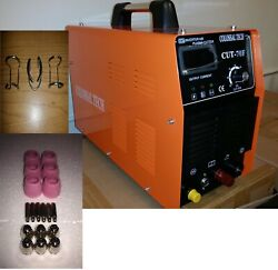 Plasma Cutter Pilot Arc Cut70f Igbt 70amp 220v 18 Consumables And 3 Spacer Guides