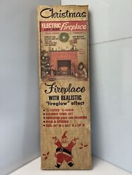 Vtg 1960s Toymaster Christmas Electric Fireplace 1100 Mantle W/ Fireglow Effect