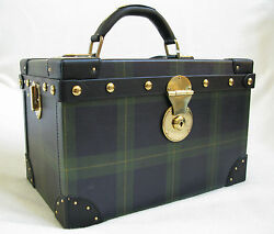 Vtg Collection Blackwatch Tartan Leather Cosmetic Beauty Train Case