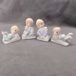 Enesco Country Cousins Denim Kids Figurines Katie And Scooter Porcelain Bisque