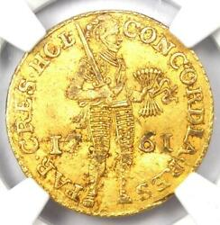 1761 Netherlands Holland Gold Provincial Ducat Coin 1d - Ngc Certified Genuine