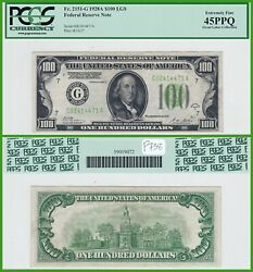 1928a Light Green Seal 100 Federal Reserve Note Pcgs 45 Ppq Extremely Fine Lgs