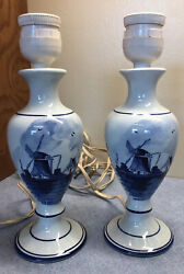 Pair Vintage Delft Marked Small Lamps Holland Scene Of Windmill9