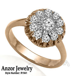 14k Solid Rose And White Gold Genuine Diamond Ring Russian Style Jewelry R1941.
