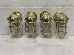 Oceanic Reproduction Solid Passageway Wall Sconce Light Made Brass Nautical 4pcs