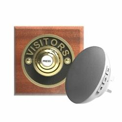 Traditional High Quality Square Wireless Doorbell Visitors In Mahogany And Brass
