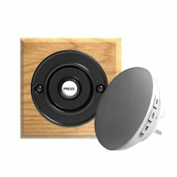 Traditional High Quality Square Wireless Doorbell In Honey Oak And Black