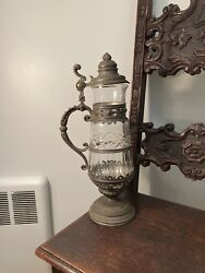Antique Glass And Pewter Victorian Beer Stein