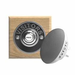 Traditional High Quality Square Wireless Doorbell Visitors In Natural Oak And Ch