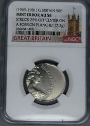 Great Britain 1969-1981 50p Pence Error Struck 25 Off Centre On A Foreign Planc