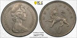 Great Britain 1968 Mint Error 10p S-4231 New Pence 90cw Rotated Dies Pcgs Au50