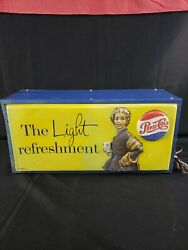 Vintage Early 1950and039s Pepsi Cola Soda Pop Gas Station 19 Lighted Sign Works
