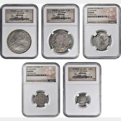 1779-1783 Mexico Shipwreck Quintet 5 Of Real Coins. All Ngc Certified. Scarce