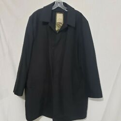 Joe Joseph Abboud Black Menand039s Lined Trench Overcoat W/removable Warmer Xl