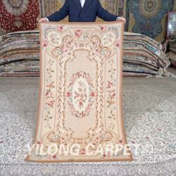 Yilong 3and039x5and039 Handmade French Aubusson Wool Rug Flower Villa Carpet Mc468w