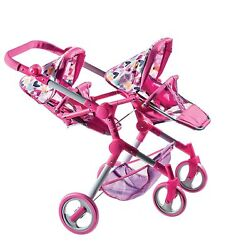 Lissi Modern Twin Baby Doll Stroller Hearts