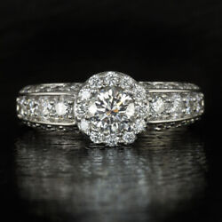 1.50ct Ideal Ex Cut Gia Certified Round Diamond Halo Engagement Ring White Gold
