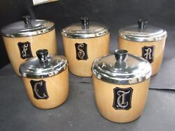 Vintage Set Of 5 Canisters ''duchess ' Aluminium Kitchen Canister Set Retro 60's