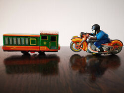 Tin Toys Lmz Schuco Russian 1950's Motorcycle And Train