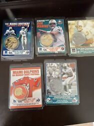 5 Miami Dolphins Collectible Coins. Dan Marino, Marks Brothers, Csonka, And More