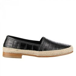 Dolce And Gabbana Crocodile Leather Rope Loafer Shoes Pianosa Black Beige 09512