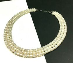 .925 Sterling Silver Genuine Button Pearl 3-row Collar Necklace Graduated Pp25u