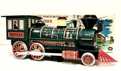 Nos Vintage Battery Operated Mystery Action Western Special Locomotive Tin Train